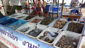 Seafood for sale at Cha Am beach, Thailand