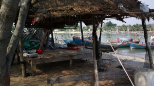 Fisherman's hut by the Pranburi River, Pranburi, Thailand