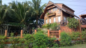 Gingerbread wooden house and restaurant in Pranburi, Thailand
